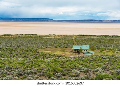 House on the edge of Alvord playa in Oregon