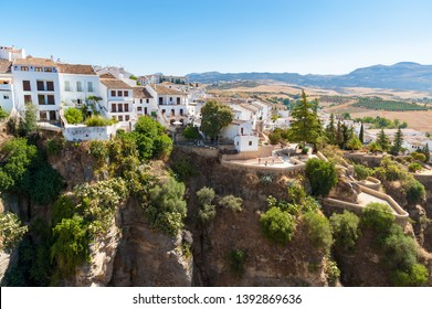 House on the edge of canyon in Ronda, Andalusia, Spain