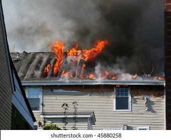 A house on fire.