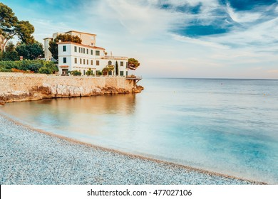House On The French Riviera In Provence In The South Of France. Morning View Of Sea, Beach