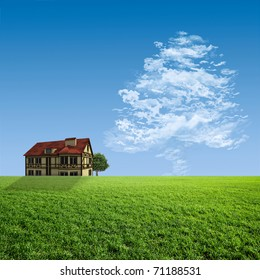 House on a green meadow and the cloud