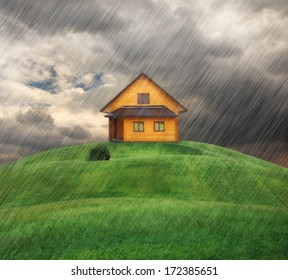 house on a hill in rainy day