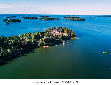 House on the island above. Stockholm archipelago. Scandinavian landscape