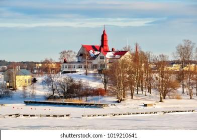 House on island in winter Helsinki, Finland