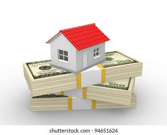 A house on money stack. Dollar. Real estate business concept. 3d render illustration