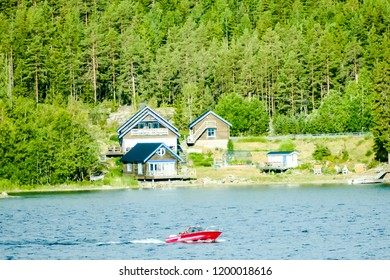 house on the river, in Sweden Scandinavia North Europe