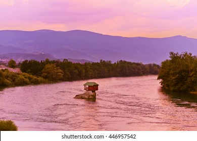 House on rock island in river Drina - Serbia - architecture travel background
