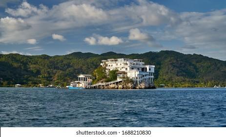 House on the rocks in the Bay of Guanaja island, Honduras