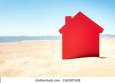 House on the sand beach concept real estate or vacation rental property