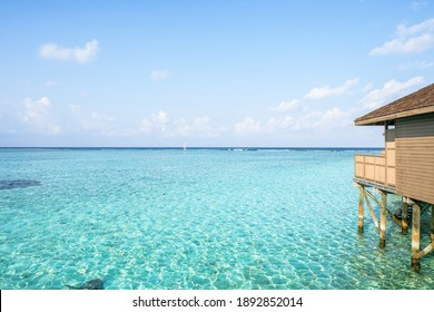 A house on the sea In the clear water And the sky is beautiful. Beach background.