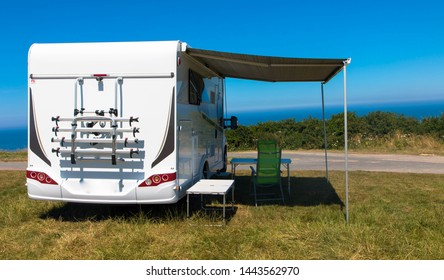 House on the wheels, Camper van on the seaside, Normandy france