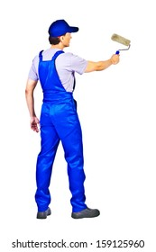 house painter in blue uniform  is painting invisible wall, view from behind Isolated on white background