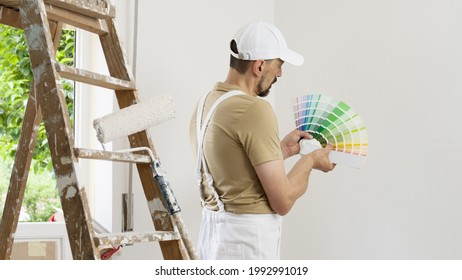 house painter man decorator choose the color using the sample swatch, work the white wall of the house to renovate, a wooden ladder, a paint roller and a green window as a background