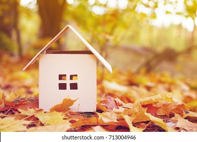 House from paper in bright yellow autumn leaves. Model of cardboard house. Concept of sale or purchase house