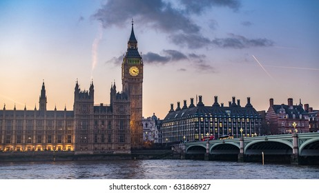 The House of Parliament and the Big Ben in London at sunset