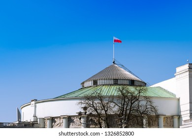 House of Parliament, Sejm, Wiejska street, Poland. Clear blue sky and sunny day