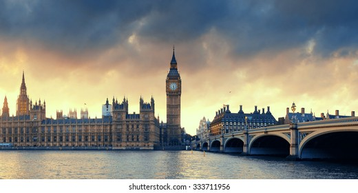 House of Parliament sunset panorama in Westminster in London.