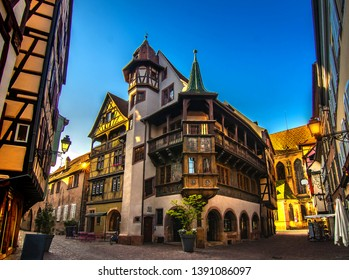 house pfister from 1537 in colmar, alsace, romantic medieval town