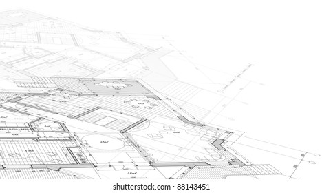 House plan - architecture blueprint. Bitmap copy my vector