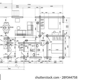 house plan blueprint, architectural drawing, part of architectural project