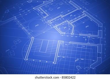house plan - blueprint. Bitmap copy my vector ID 64266391