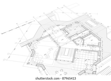 House plan - blueprint. Bitmap copy my vector ID 17456770