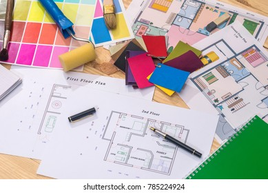 house plan with patterns of colors and tools