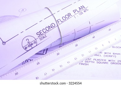 House plan - This is a picture of a set of blueprints (architectural drawings) the main floor of a house.