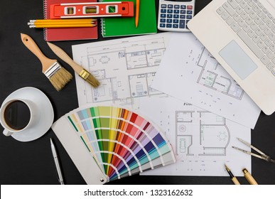 House plan, tools, color palette and coffee