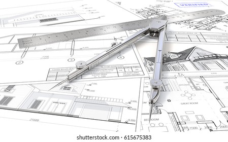 House planning. Generic Architectural blueprints, drawings and sketches. Ruler and Divider of metal. 3D render.
