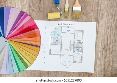 House project and colour swatch with brushes