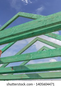 House rafter framing under construction
