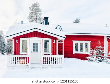 House at Reindeer farm in Finland in Lapland in winter.
