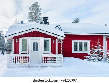 House at reindeer farm in winter Rovaniemi, Lapland, Finland.