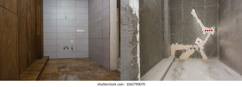 House renovation before and after the renovation of a bathroom