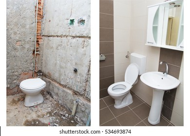 House Renovation - Before and After the Renovation of a Bathroom.