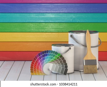 House renovation and improvement concept background. Paint cans, paint brush and color palette on wooden wall painted in a colors of the rainbow. 3d illustration
