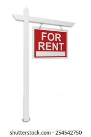 House for rent sign. 3d illustration isolated on white background