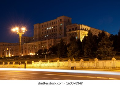 The House of the Republic, formerly known as the People's Palace, a landmark of Ceausescu's Romania.