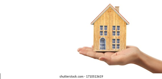 House Residential Structure in a hand ,business home idea