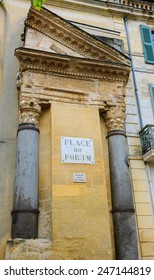 A house with Roman portico and columns at Forum square (Place du Forum) in Arles (Provence, France).