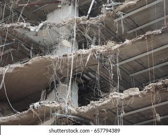 house ruin rubble debris from demolition in building site