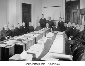 House Rules Committee, convening in Jan. 1917 during the 65th United States Congress. House Speaker, Champ Clark sets in center right at the end of the table