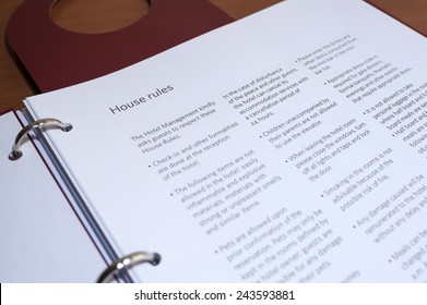 House Rules in Hotel Info Book