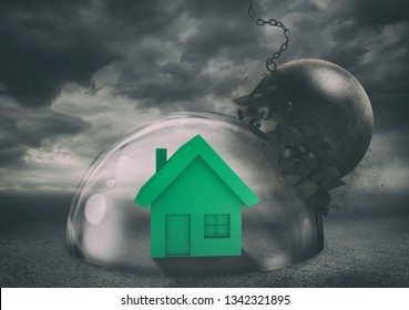 House safely inside a shield dome during a storm that protects it from a wrecking ball. Protection and safety concept