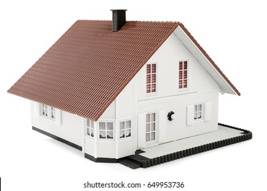 House for sale concept, model house isolated on white background.