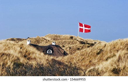 House in the sand dunes with thatched roof and Danish flag