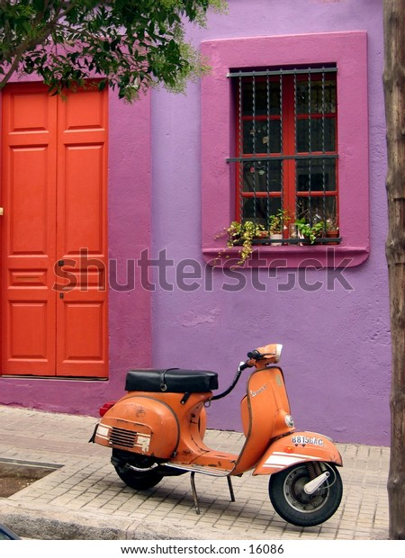 House with scooter in Barcelona, Spain