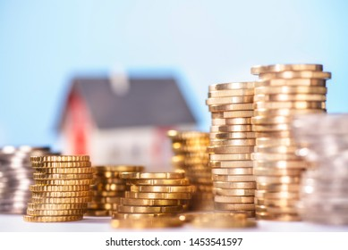 House with several stacks of coins
