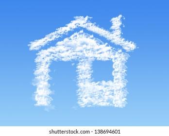 House shape clouds on blue sky